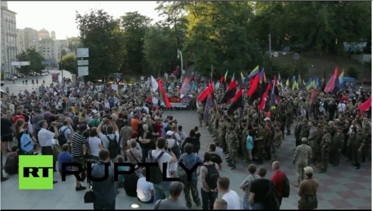 Demonstratie in Kiev voor offensief in Donbass.
